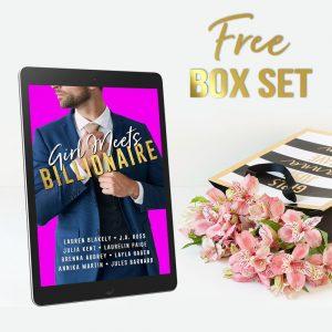 Free box set on ereader next to shopping bag